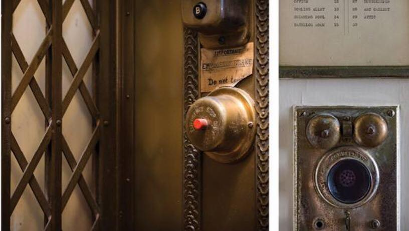 Old elevator call button