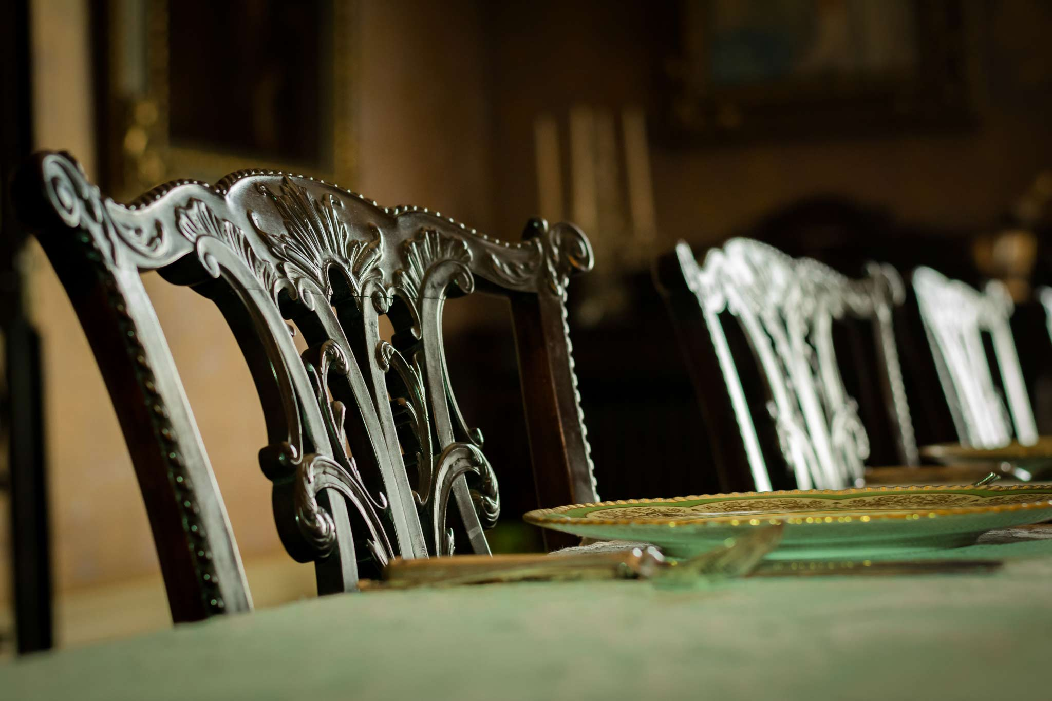 Ironwork chairs at a table