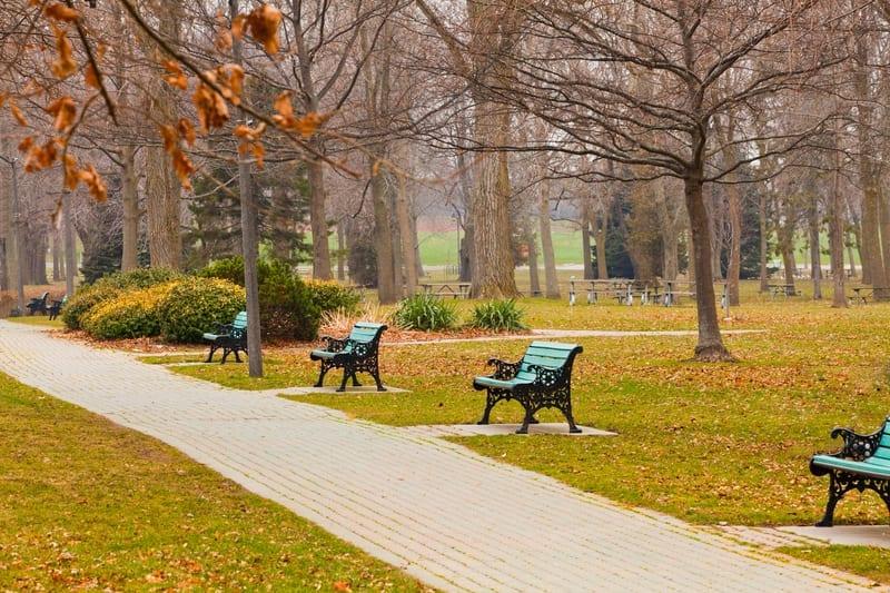 Park bench in Oshawa Ontario